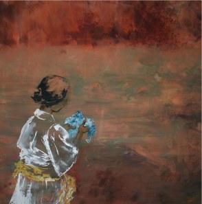 christine-bourcey-le-tissu-bleu-huile-sur-toile-180x180cm