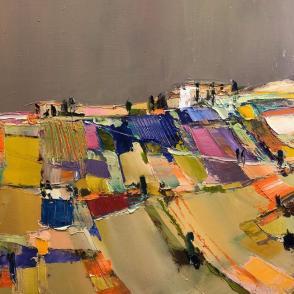 Didier Caudron Le Crete toscan sous ciel gris 40 x 40