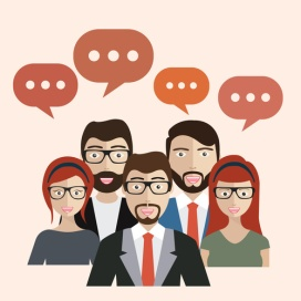 Set of business people with speech bubbles. Avatars. Flat vector